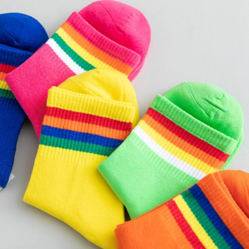 레인보우형광컬러패션양말(Rainbow fluorescent color fashion socks)